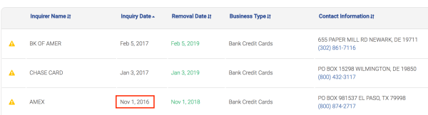 Amex hard pull Experian report