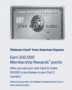 Amex Platinum 100k Offer