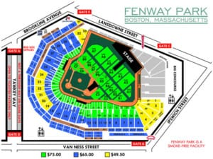 Fenway Park concert seating chart