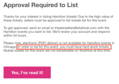 Hamilton StubHub requirements