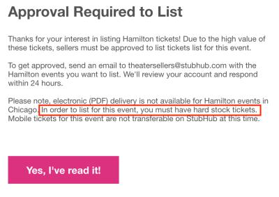 Hamilton StubHub requirements