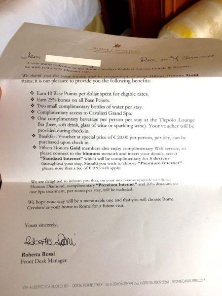 Rome Cavalieri Hilton Gold Welcome Letter
