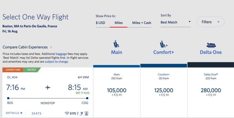 Delta Award Prices