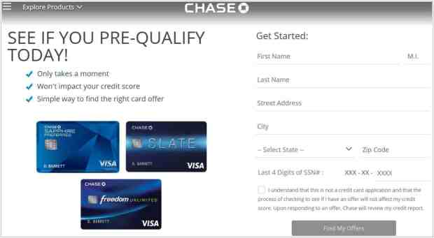 How to Prequalify for a Chase Credit Card