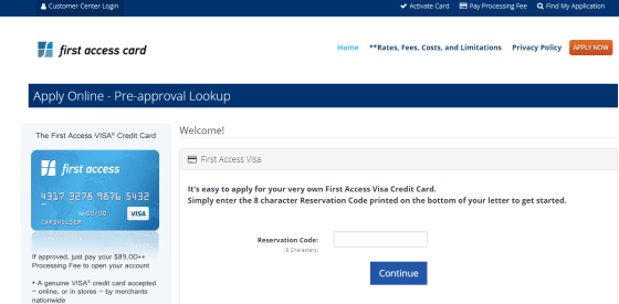 Pre approval Lookup First Access Card