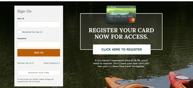 L L Bean Credit Card Log in