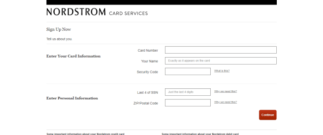 Sign up — Nordstrom Card Services