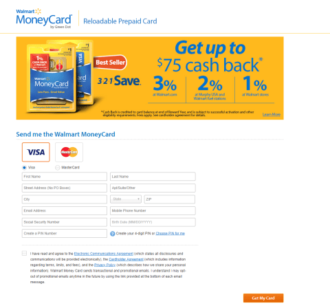 Walmart MoneyCard Apply Now
