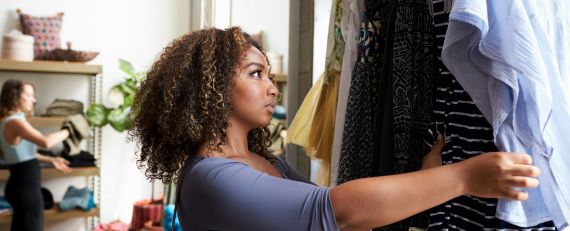 Woman shopping after getting approved for an easier approval credit card
