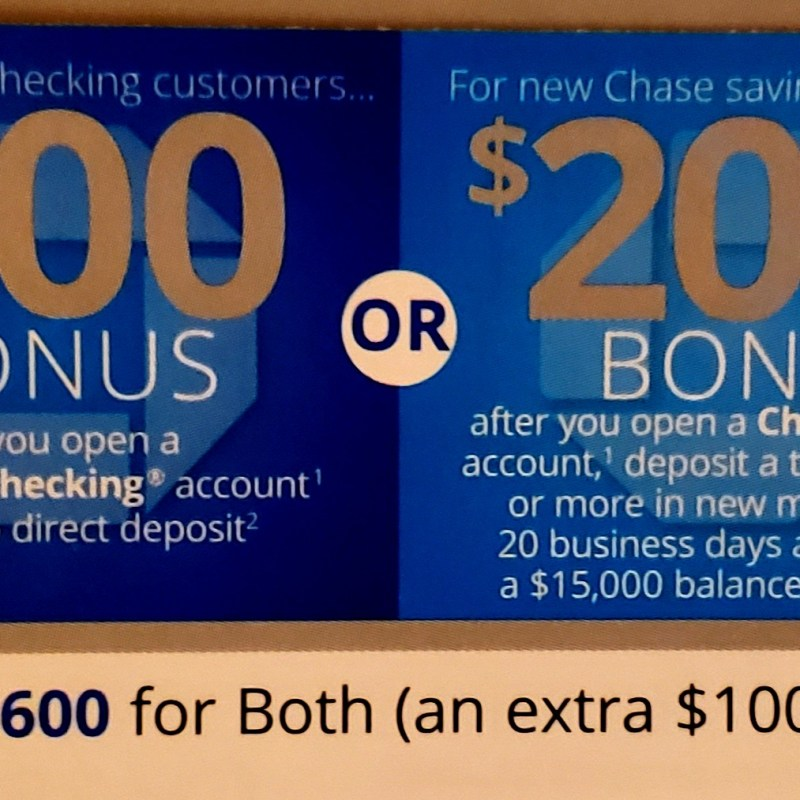 Chase Start Now – Get up to $600 When Opening a Checking or Savings Account