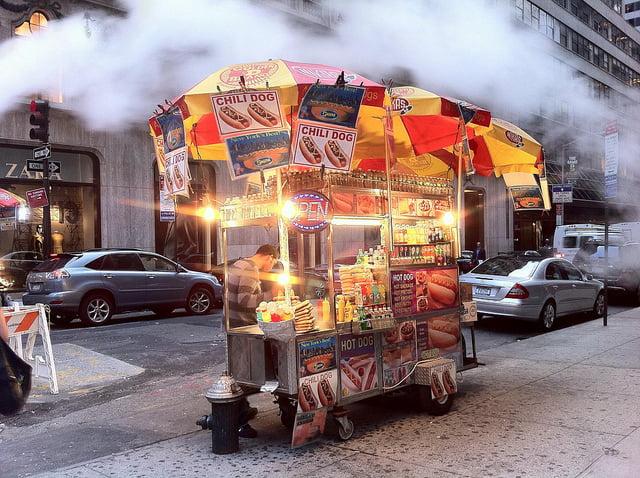Hot Dog Vendor on City Street