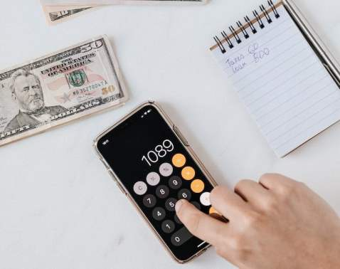iPhone Calculator and Cash plus Notebook