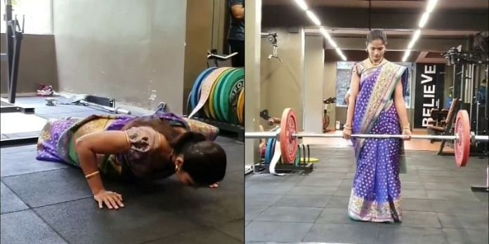 This doctor doing powerlifting wearing a sari is breaking many stereotypes giving inspiration to women to stay fit credityatra 4