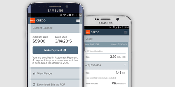 CREDO Mobile app on the Galaxy S6