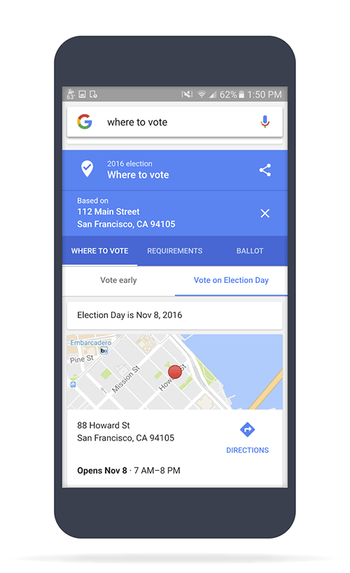 Use google to find your polling place