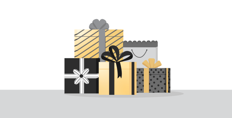 Graphic of five presents wrapped in black, silver, and gold wrapping paper