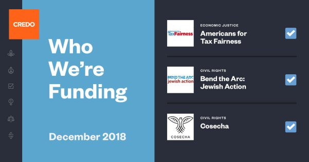 "Blue image with text ""Who We're Funding"" and the logos of the groups Americans for Tax Fairness, Bend the Arc: Jewish Action and Cosecha"