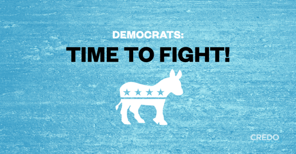 "A blue background with white and black text that says, ""Democrats: Time to Fight!"" and the democrat donkey symbol below."