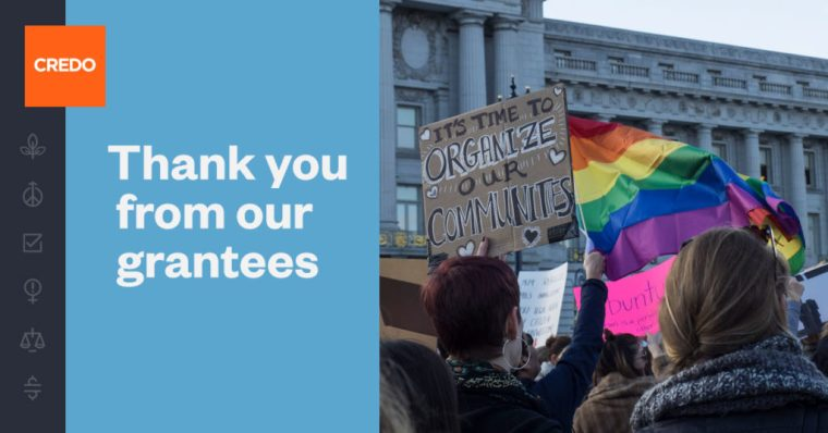 "A blue image with text saying ""Thank you from our grantees"" next to a photo of people at a rally holding signs and a rainbow flag"