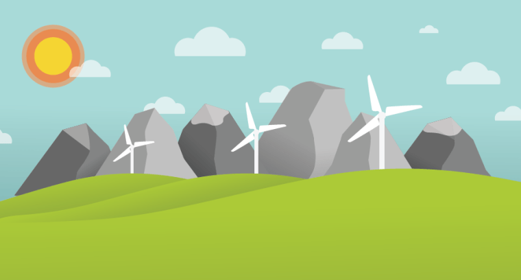 Illustration of sun shining down on windmill farm with mountains and clouds in the background.