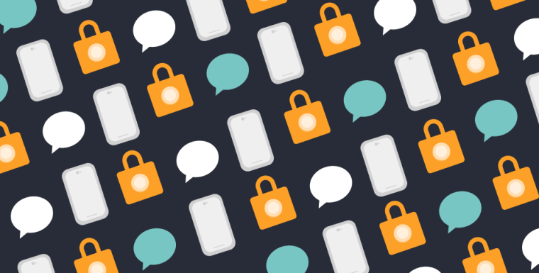 Illustration of a pattern made from cell phones, locks, and message bubbles on a black background