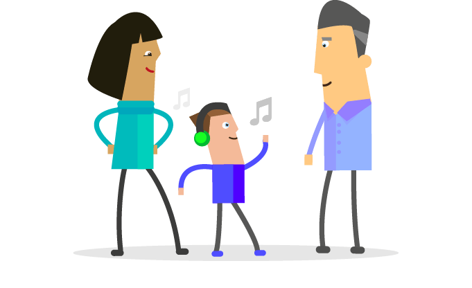 two adults with a child dancing
