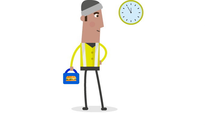 male character and clock