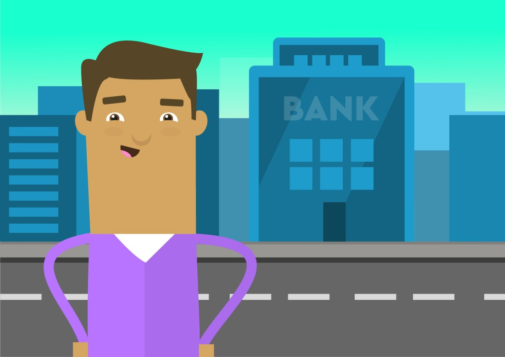 Character in front of a bank
