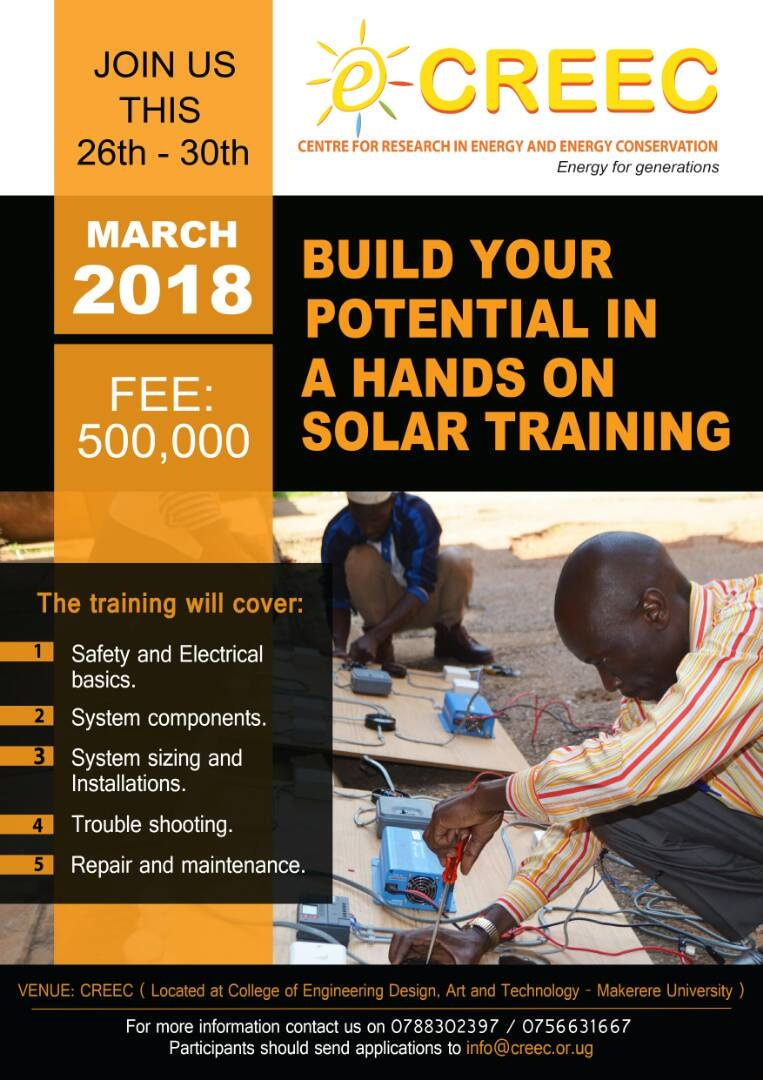THE CREEC SOLAR TECHNICAL TRAINING IS BACK