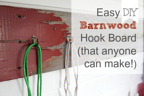 Easy DIY Barnwood Hook Board That Anyone Can Make The