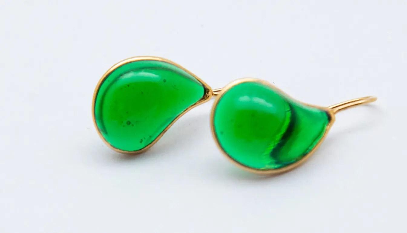 Green-teardrop-earrings-gold-hook