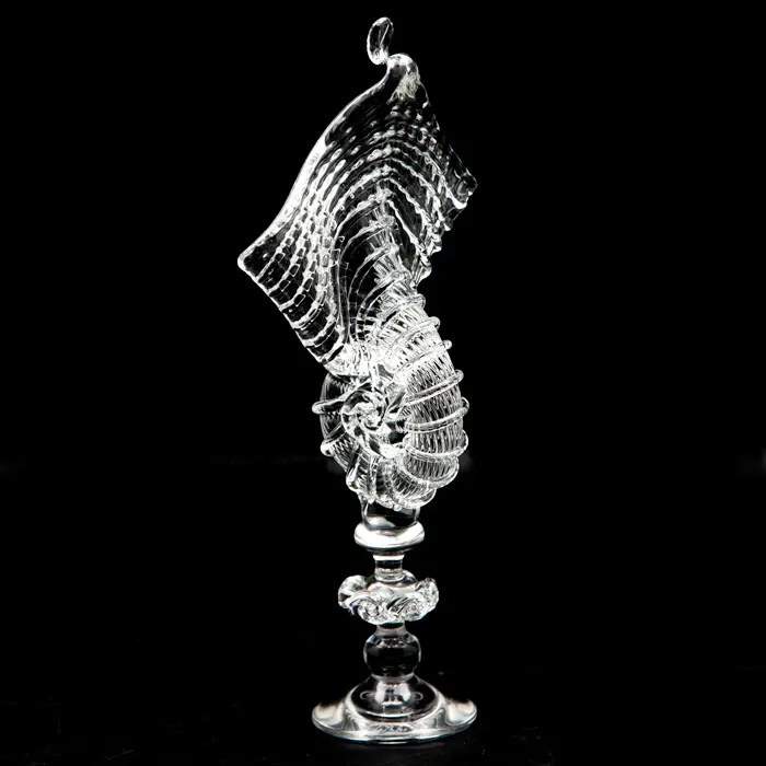 Handblown glass nautilus sculpture, spectacular and impressive in its size