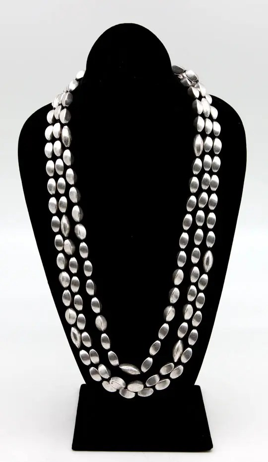 Silver Tone Beaded Long Necklace