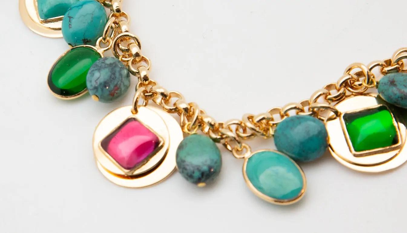 close up on a Lou Lou De La Falaise Sequin and Turquoise Bracelet