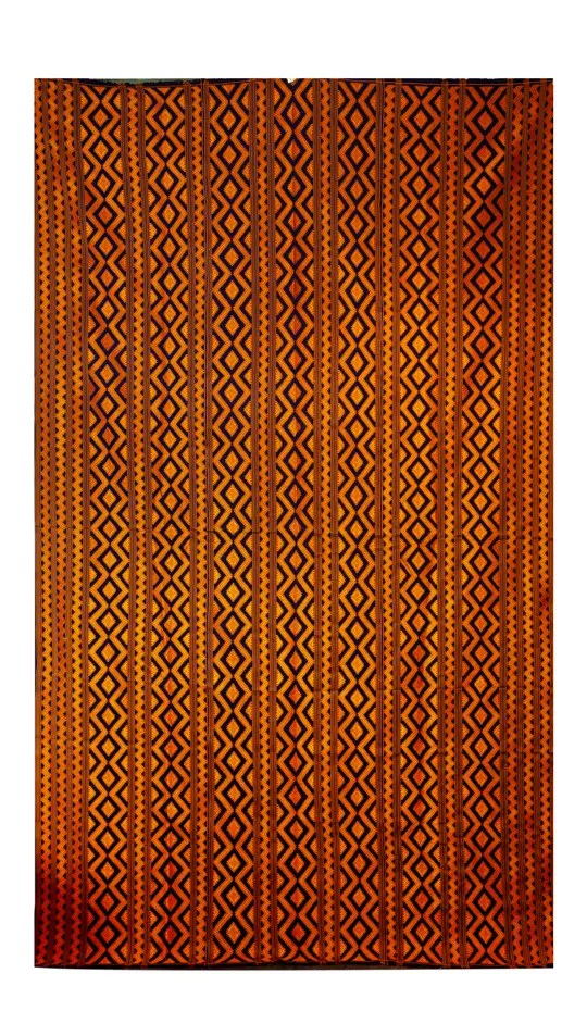 Bhutanese Silk Woven Kira Textile with Orange and Purple