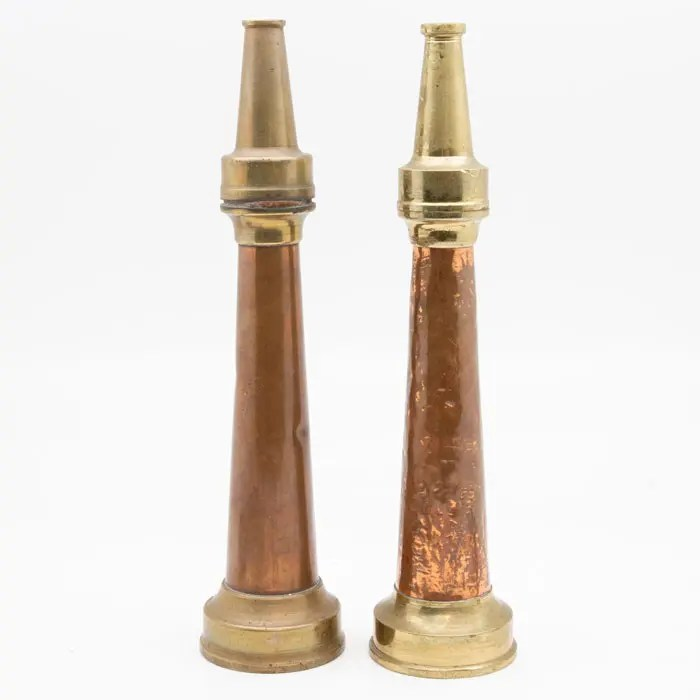 Pair of Brass and Copper Vintage Fire Hose Nozzles