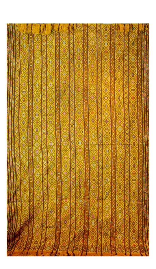 Large Colorful Yellow Textile with multicolor geometric designs