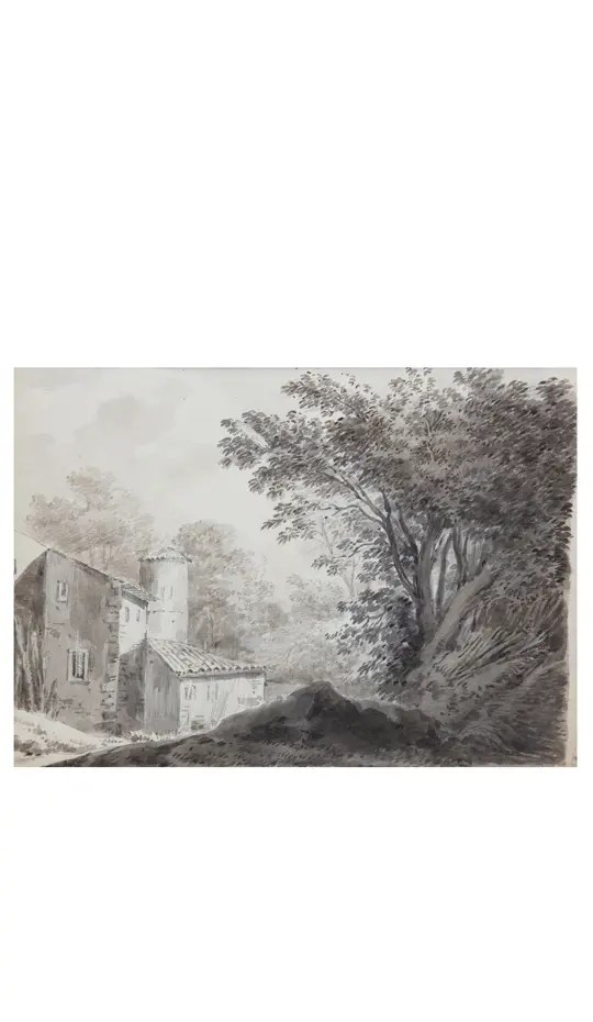 small picture of an 18th century watercolor of Constantin d'Aix representing a barn