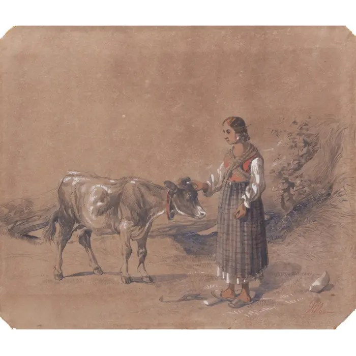 Antonie Sminck Pitloo Drawing of Young Woman with Cow