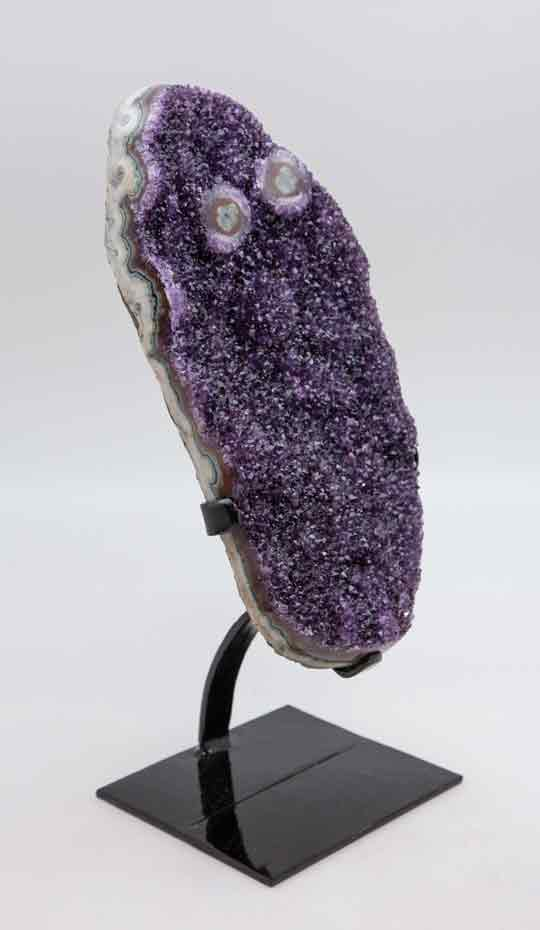 Extra Large Purple Druzy Crystals on black stand