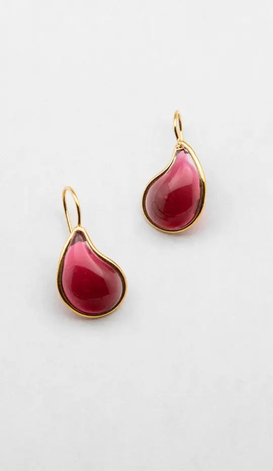 Raspberry-color-teardrop-earring