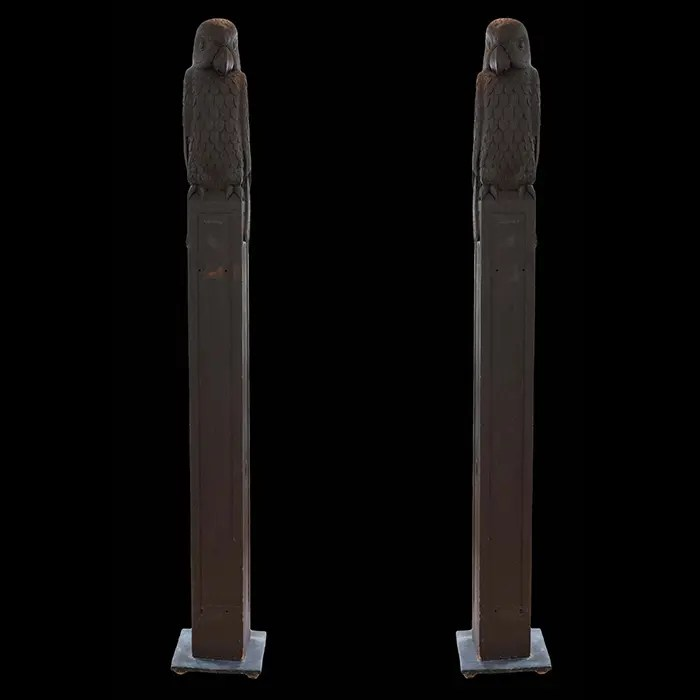 Pair of Carved Wooden Parrot Columns
