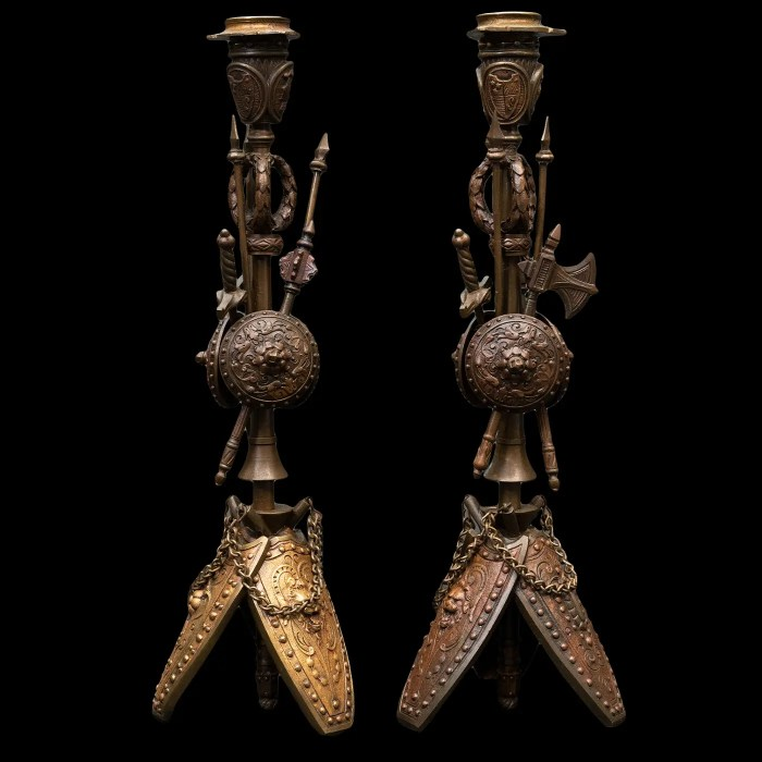 Bronze Military Candle Sticks