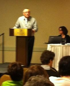 Ken Paupanekis speaks Cree at language round table.
