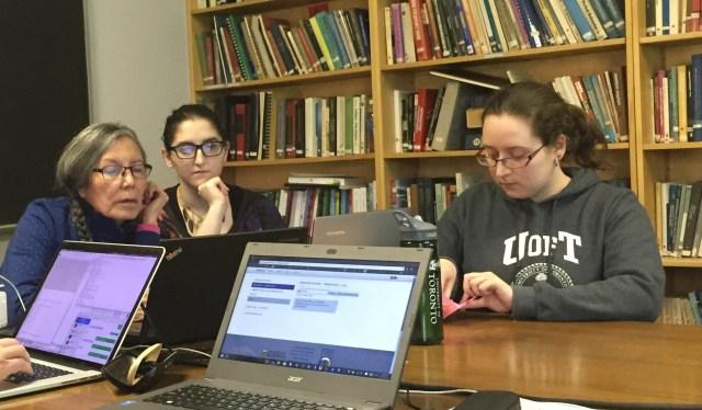 Jean Okimâsis, Falene Karey-McKenna and Katie Schmirler hard at work.