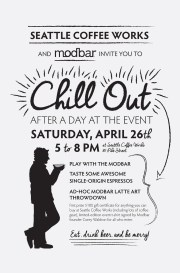 Promotional poster for Seattle Coffee Works event, Chill Out.