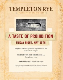 Promotional handbill for Templeton Rye event, A Taste of Prohibition.