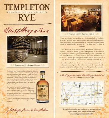 Distillery tour handbill created for Templeton Rye.