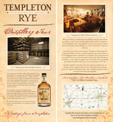 Distillery tour handbill created for Templeton Rye.