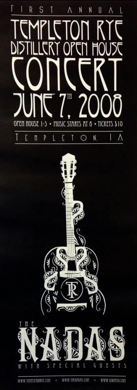 Concert poster for The Nadas in conjunction with Templeton Rye.